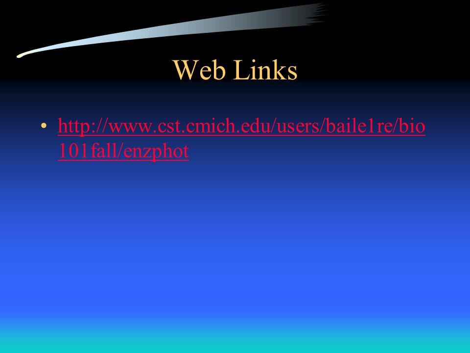 Web Links http://www.cst.cmich.edu/users/baile1re/bio101fall/enzphot
