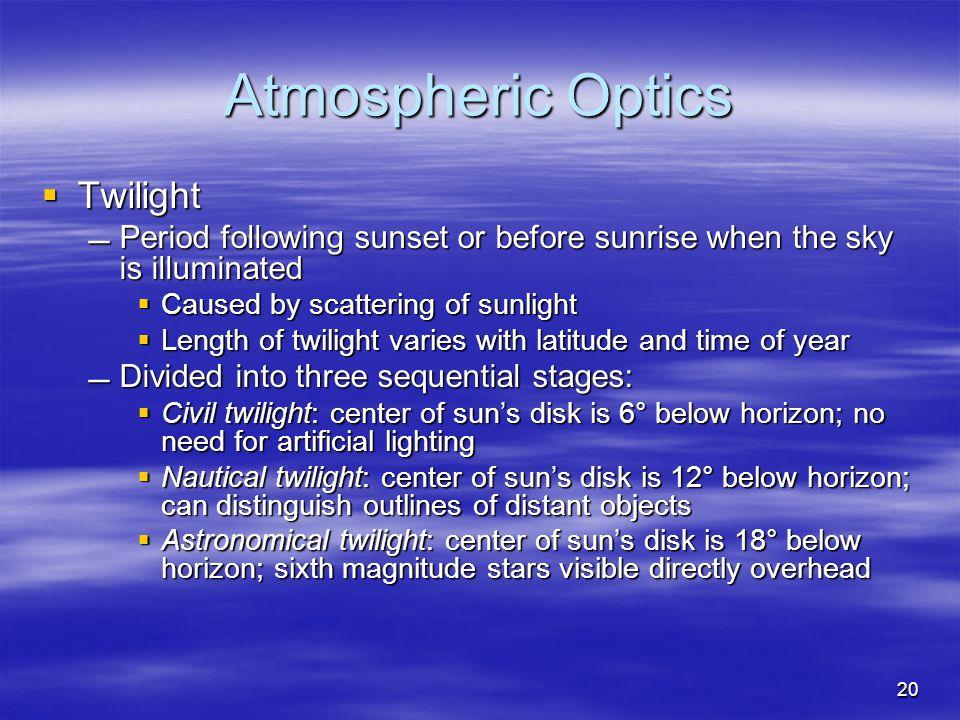 Atmospheric Optics Twilight