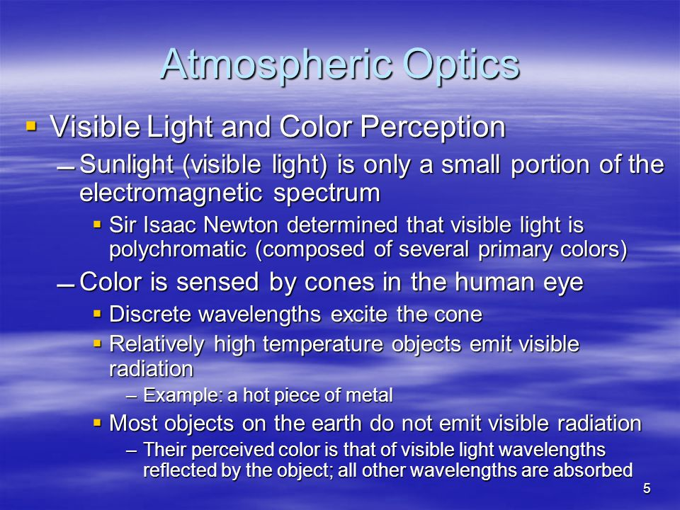 Atmospheric Optics Visible Light and Color Perception