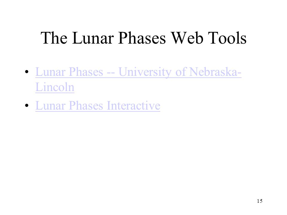The Lunar Phases Web Tools