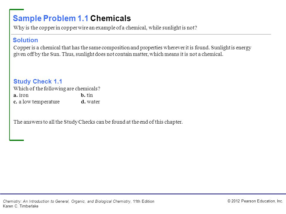 Sample Problem 1.1 Chemicals