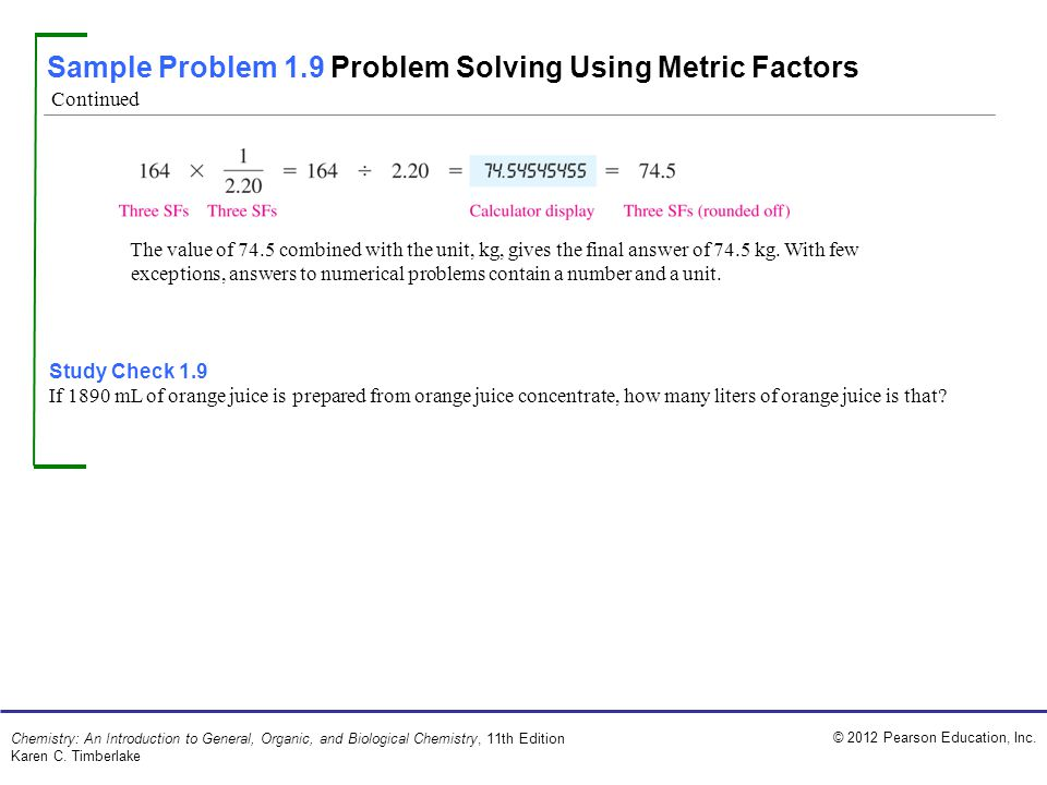 Sample Problem 1.9 Problem Solving Using Metric Factors