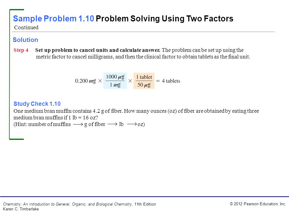 Sample Problem 1.10 Problem Solving Using Two Factors