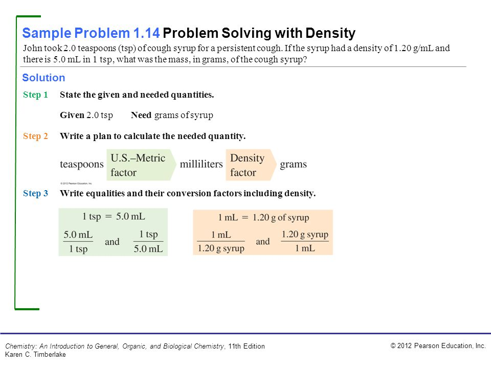 Sample Problem 1.14 Problem Solving with Density