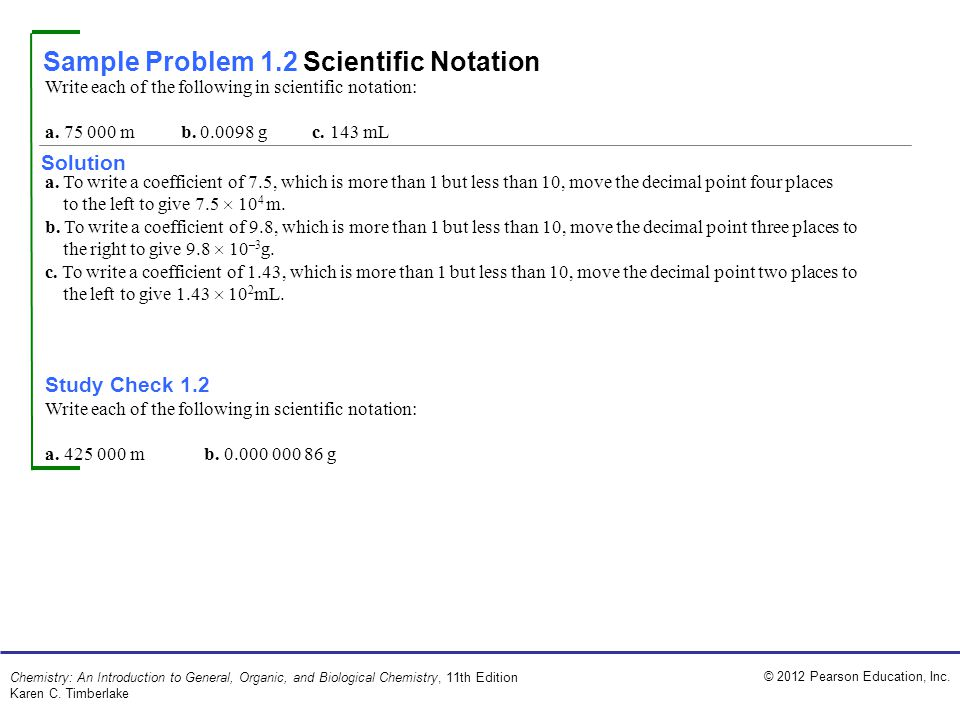 Sample Problem 1.2 Scientific Notation