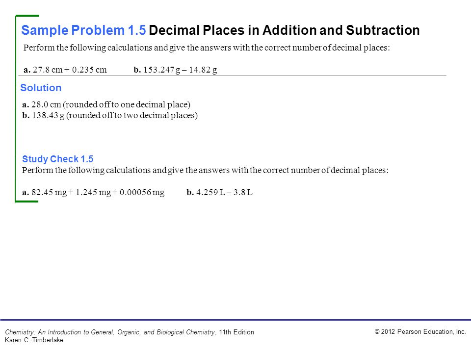 Sample Problem 1.5 Decimal Places in Addition and Subtraction
