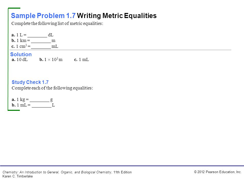 Sample Problem 1.7 Writing Metric Equalities