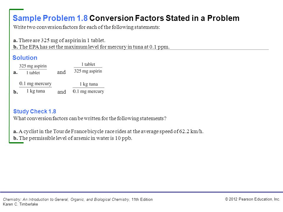 Sample Problem 1.8 Conversion Factors Stated in a Problem