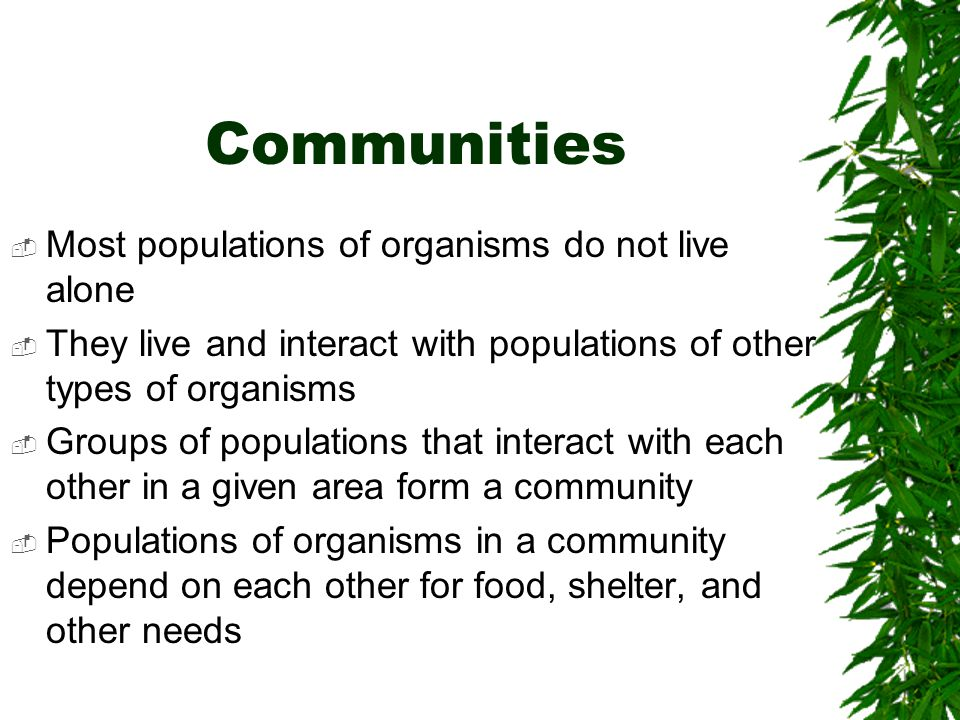Communities Most populations of organisms do not live alone