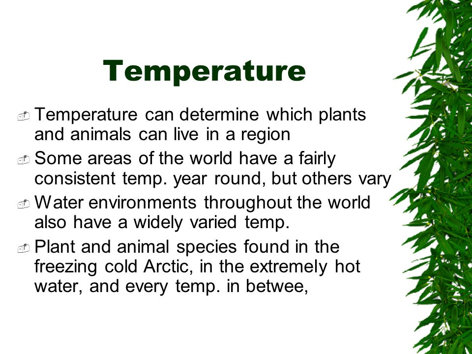 Temperature Temperature can determine which plants and animals can live in a region.