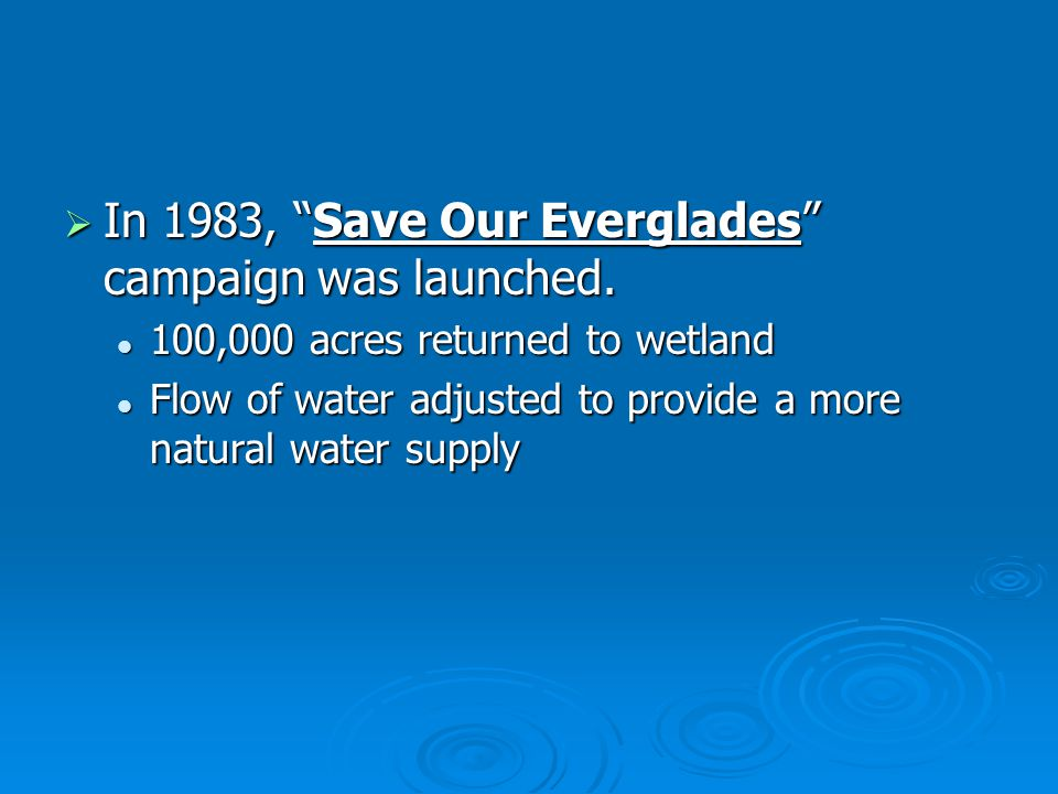 In 1983, Save Our Everglades campaign was launched.