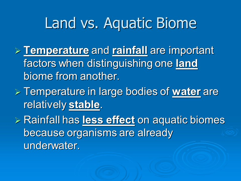 Land vs. Aquatic Biome Temperature and rainfall are important factors when distinguishing one land biome from another.