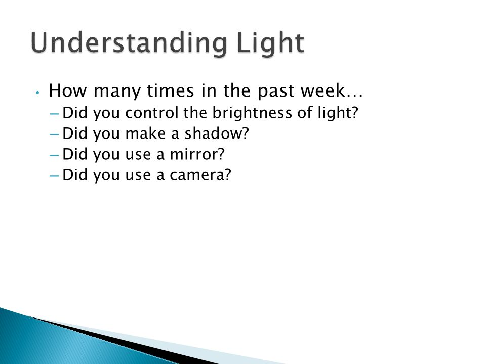 Understanding Light How many times in the past week…