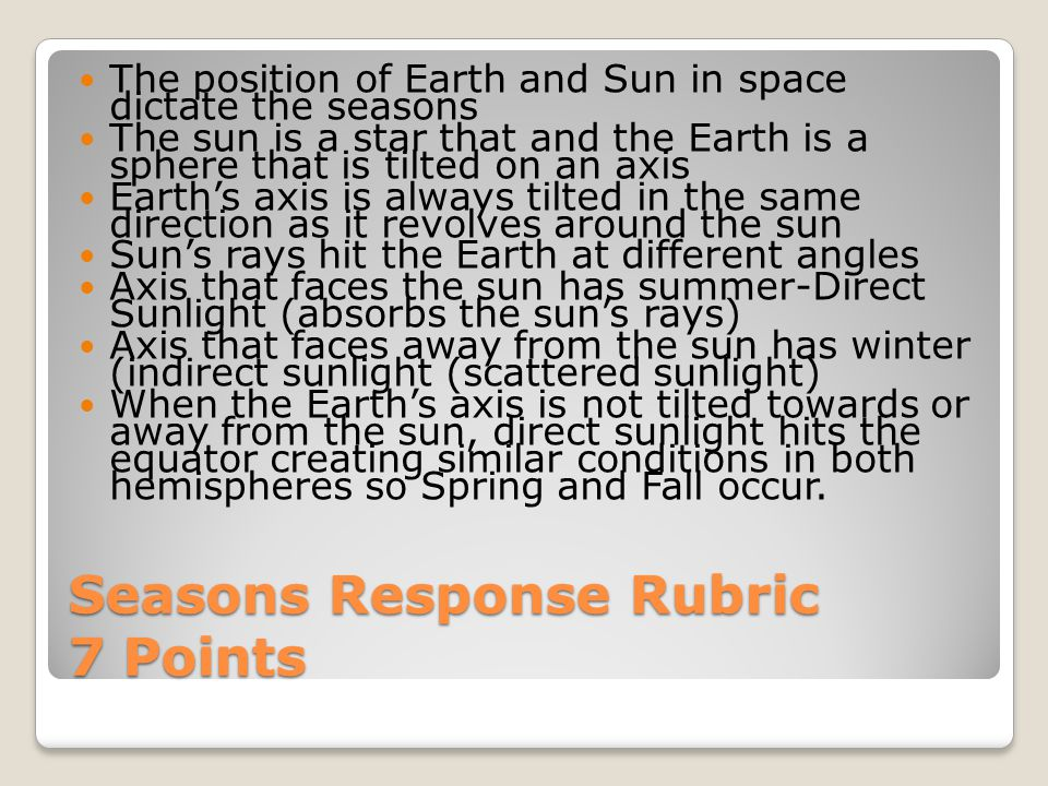 Seasons Response Rubric 7 Points