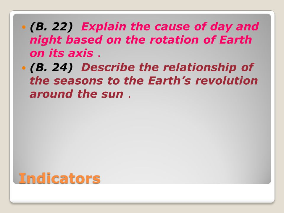 (B. 22) Explain the cause of day and night based on the rotation of Earth on its axis .