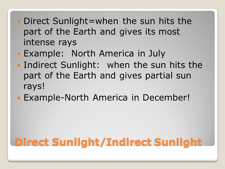 Direct Sunlight/Indirect Sunlight