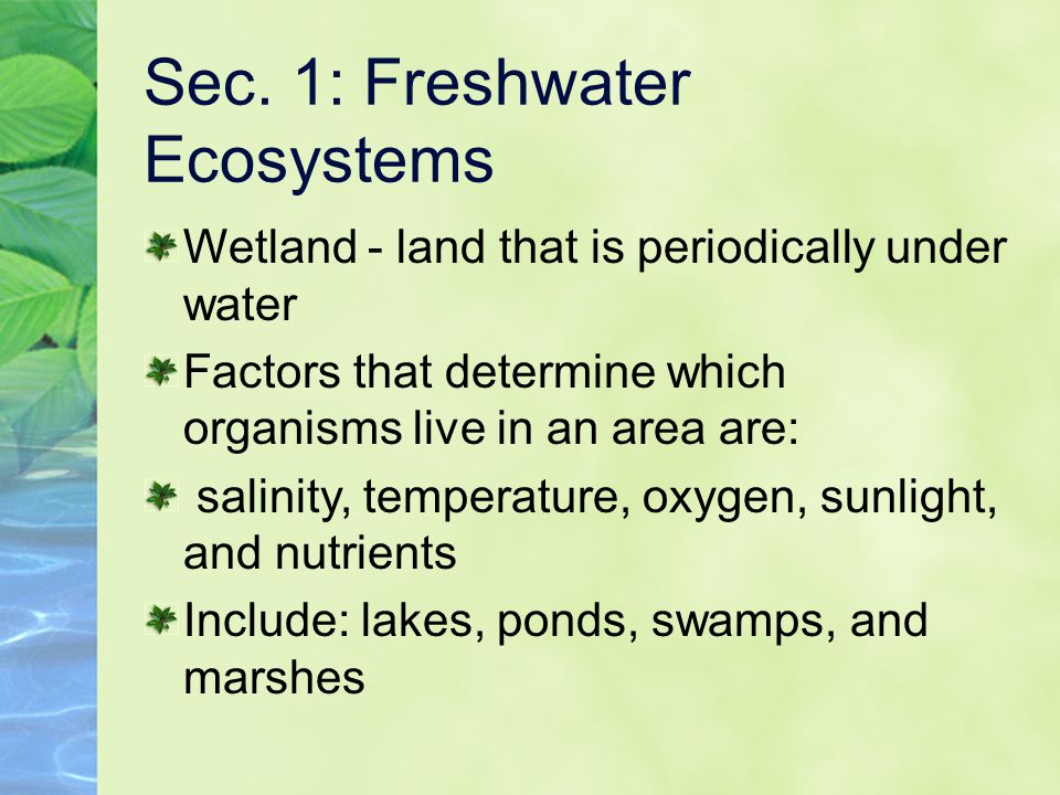 Sec. 1: Freshwater Ecosystems