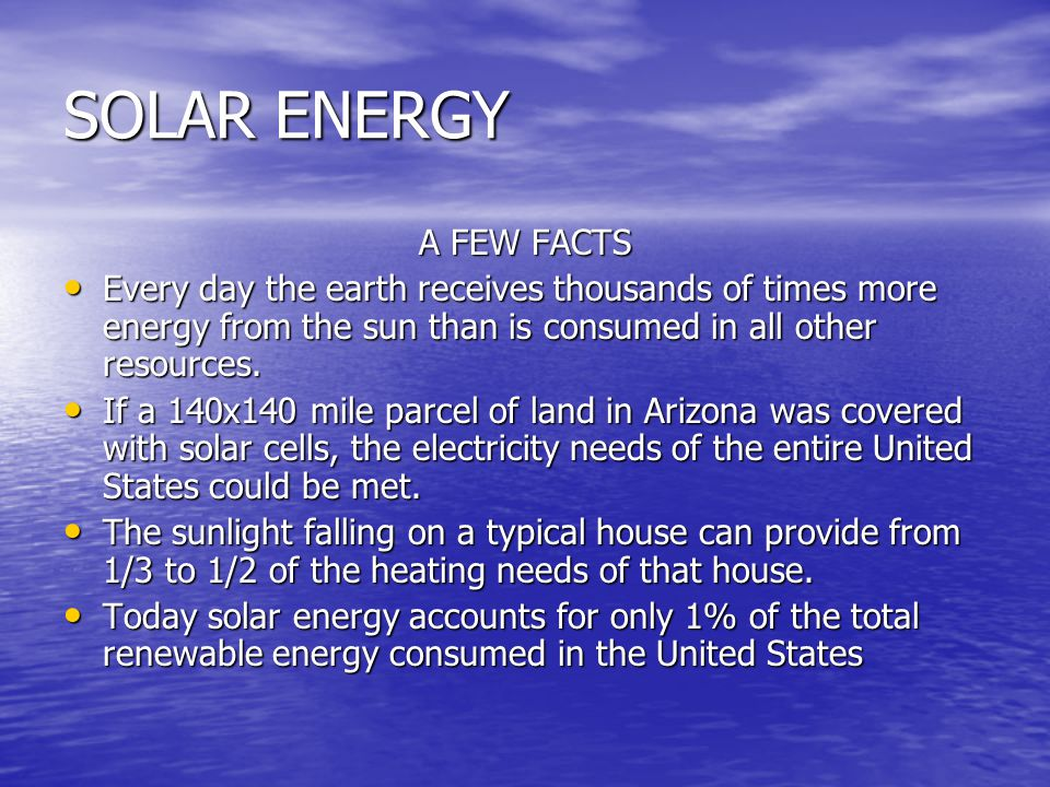 SOLAR ENERGY A FEW FACTS