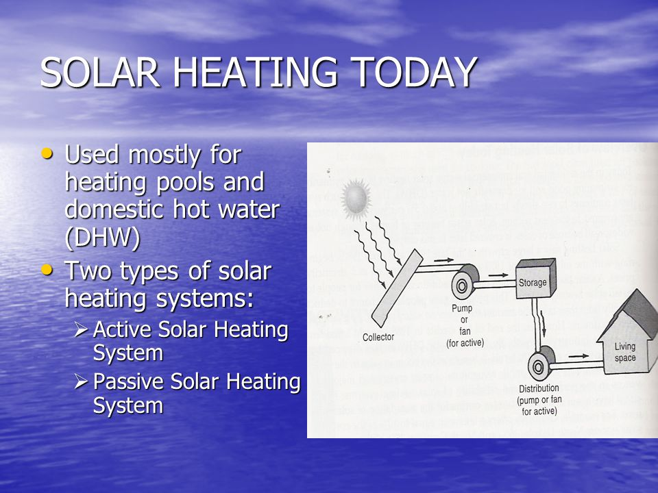 SOLAR HEATING TODAY Used mostly for heating pools and domestic hot water (DHW) Two types of solar heating systems: