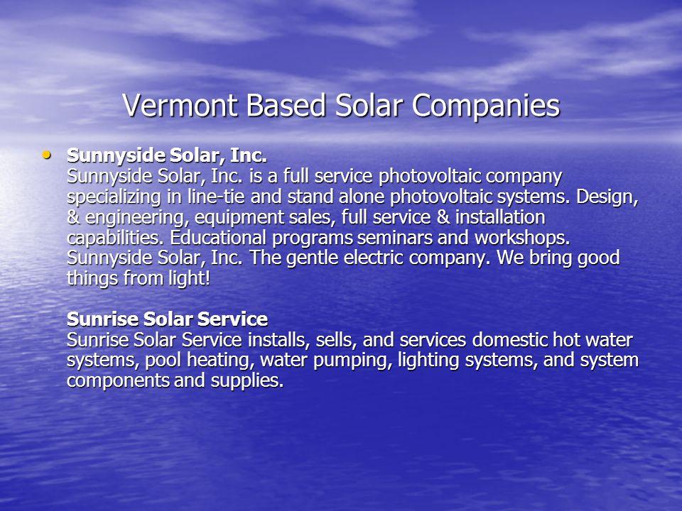 Vermont Based Solar Companies