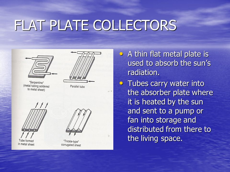 FLAT PLATE COLLECTORS A thin flat metal plate is used to absorb the sun's radiation.