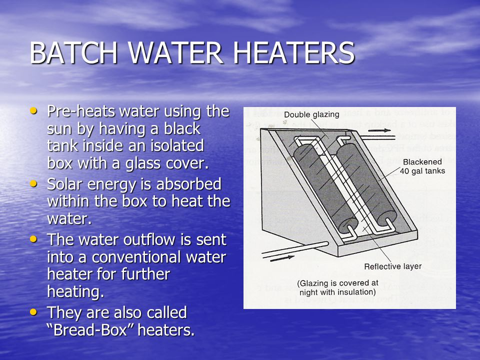 BATCH WATER HEATERS Pre-heats water using the sun by having a black tank inside an isolated box with a glass cover.