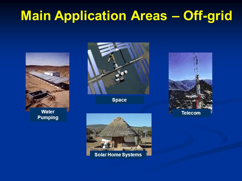 Main Application Areas – Off-grid