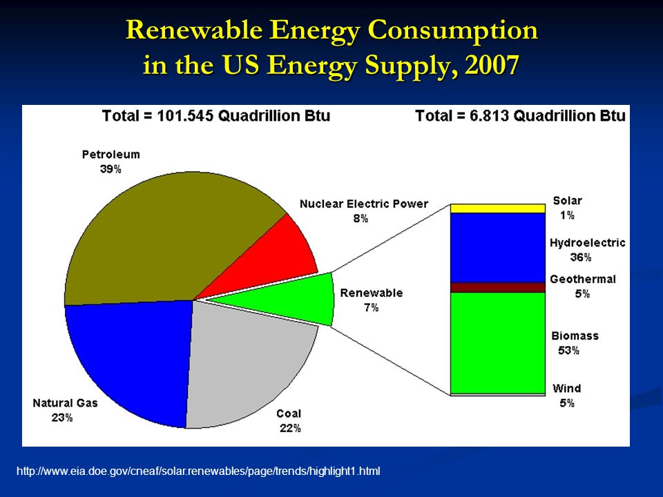 Renewable Energy Consumption in the US Energy Supply, 2007