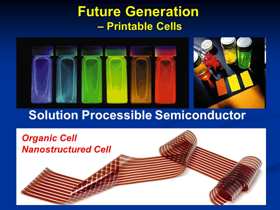 Future Generation Solution Processible Semiconductor – Printable Cells