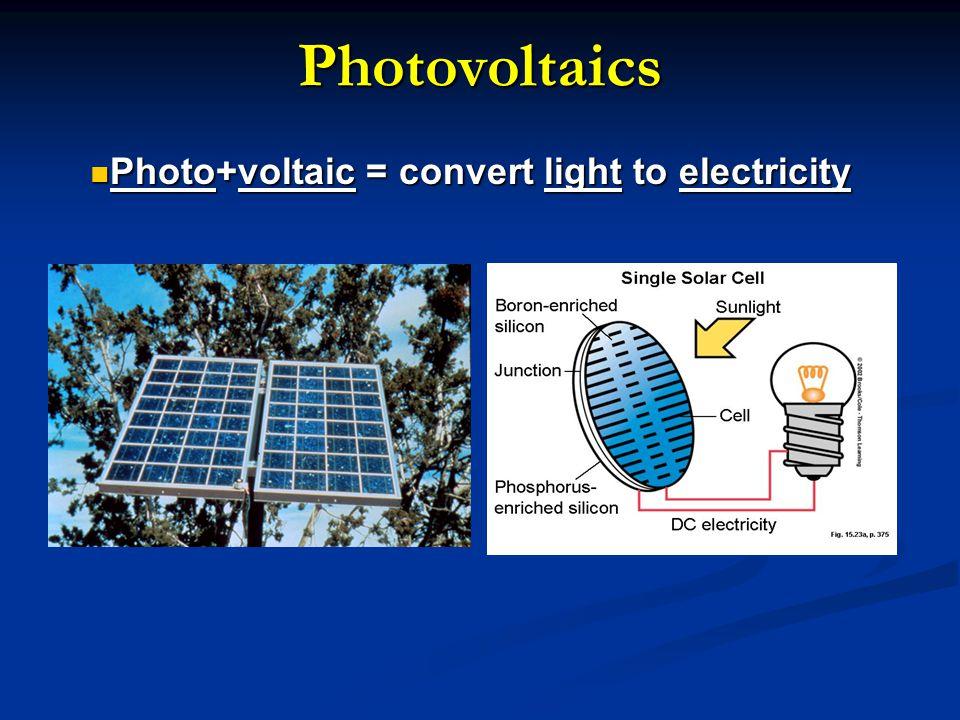 Photovoltaics Photo+voltaic = convert light to electricity