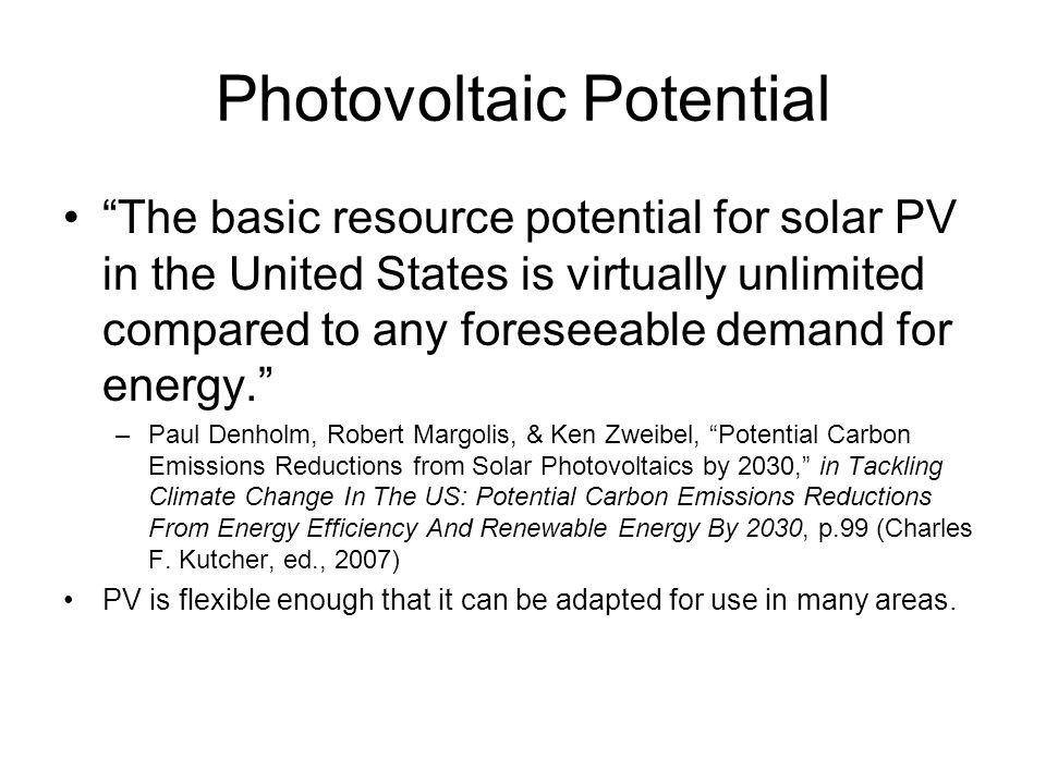 Photovoltaic Potential