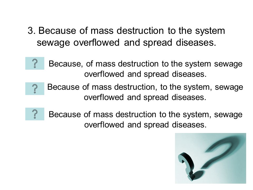 3. Because of mass destruction to the system sewage overflowed and spread diseases.