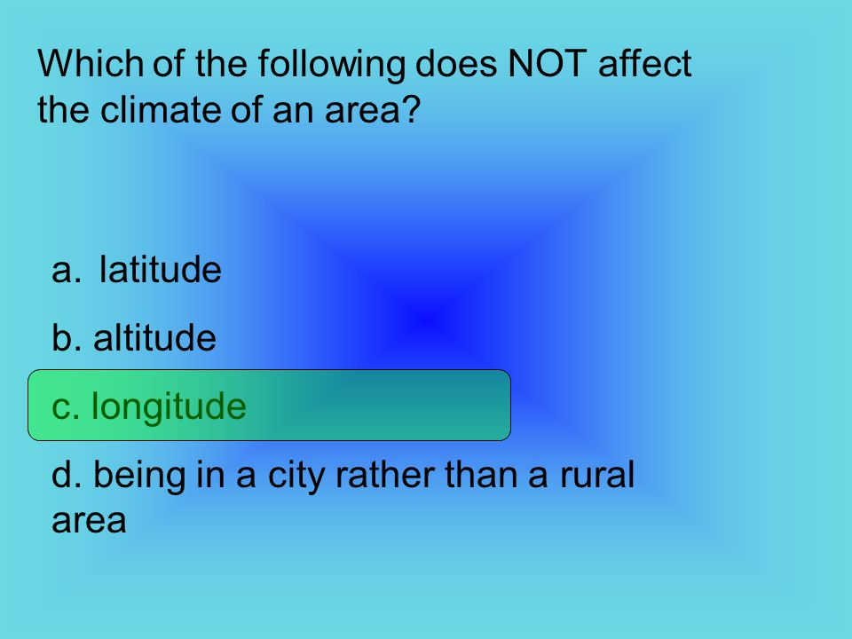Which of the following does NOT affect the climate of an area