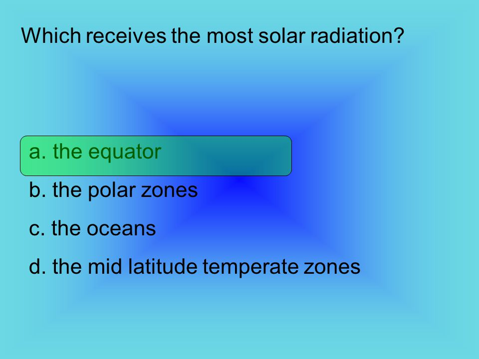 Which receives the most solar radiation
