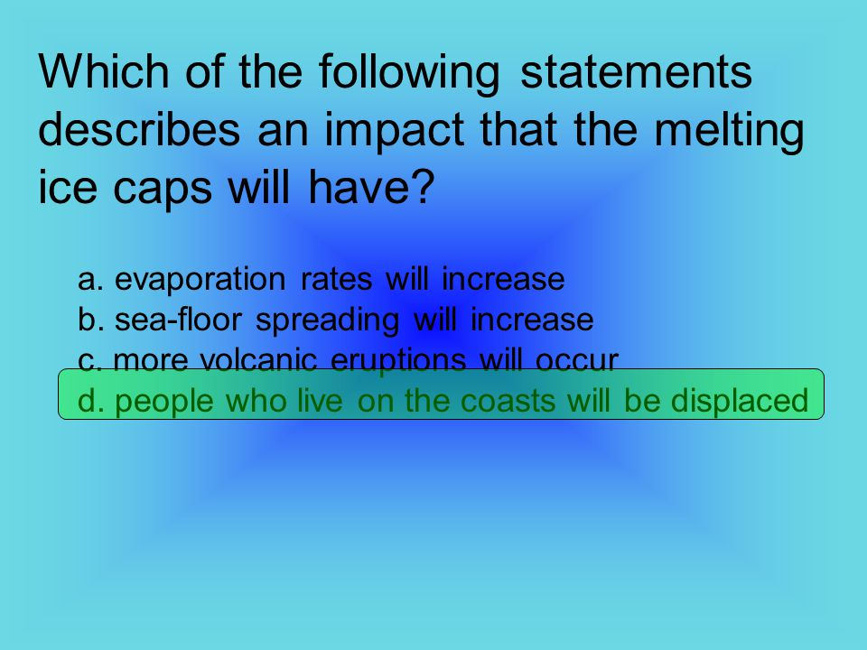 Which of the following statements describes an impact that the melting ice caps will have