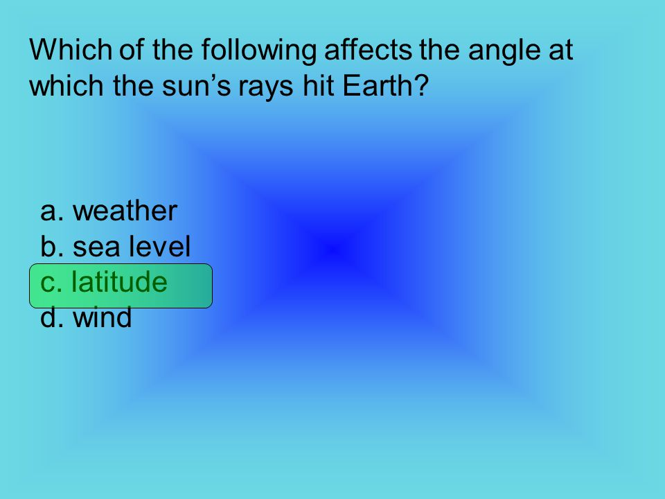Which of the following affects the angle at which the sun's rays hit Earth
