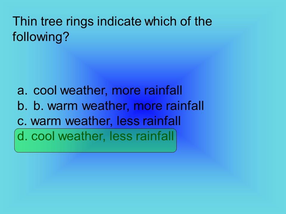 Thin tree rings indicate which of the following
