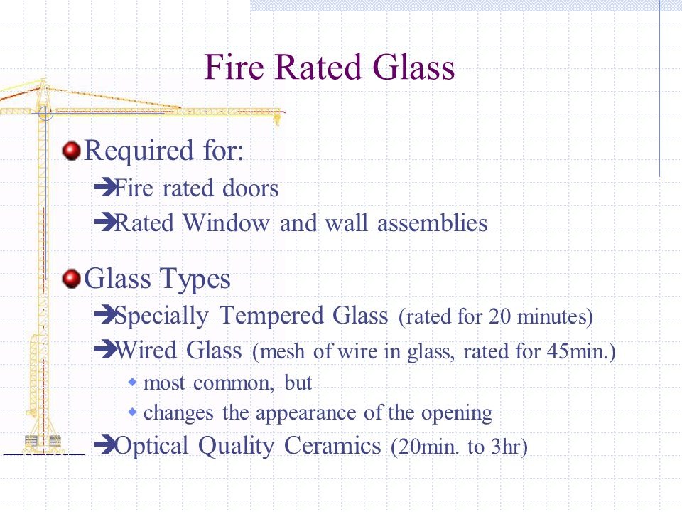 Fire Rated Glass Required for: Glass Types Fire rated doors
