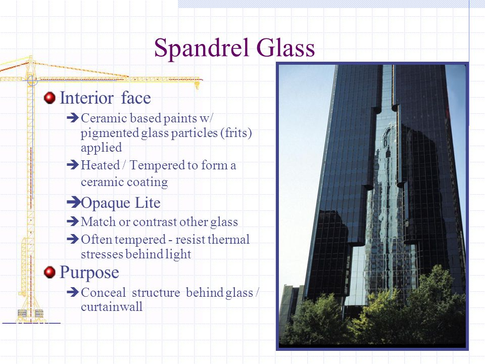 Spandrel Glass Interior face Purpose Opaque Lite