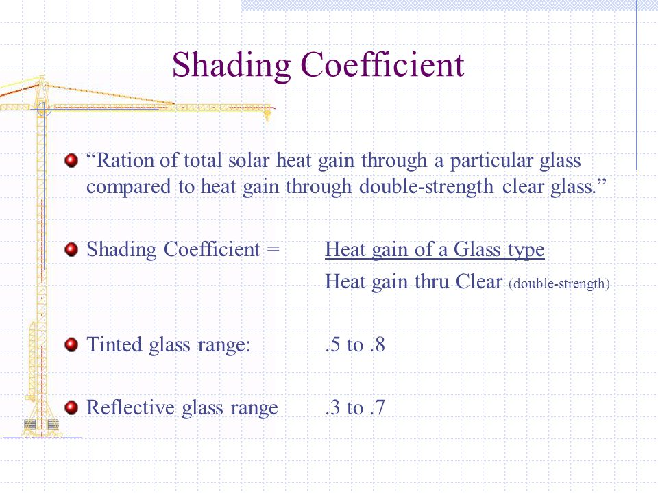 Shading Coefficient Ration of total solar heat gain through a particular glass compared to heat gain through double-strength clear glass.