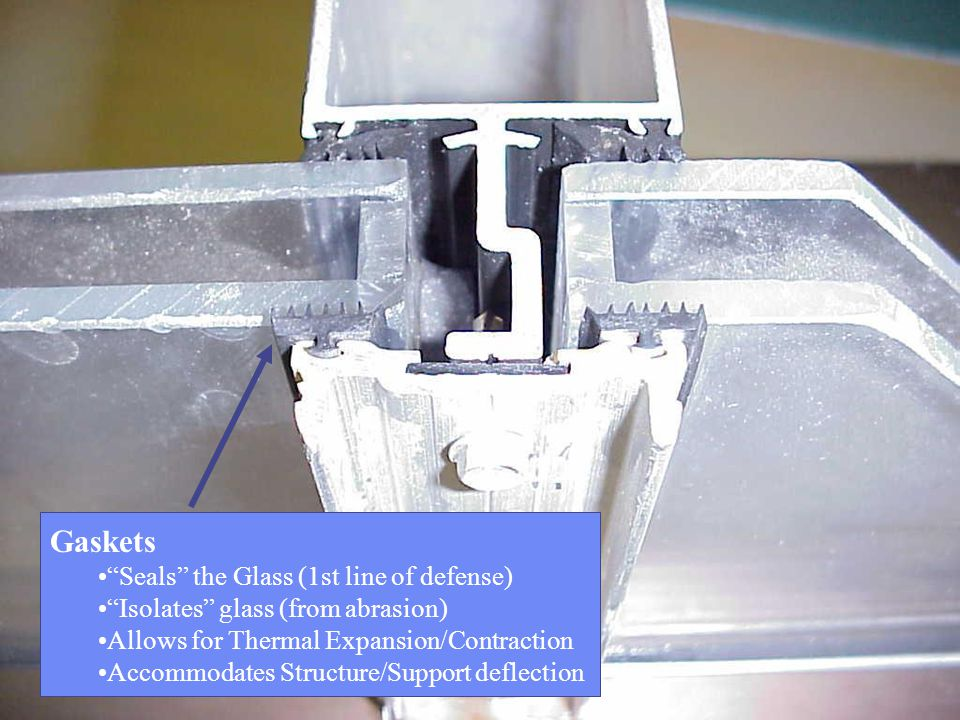 Gaskets Seals the Glass (1st line of defense)