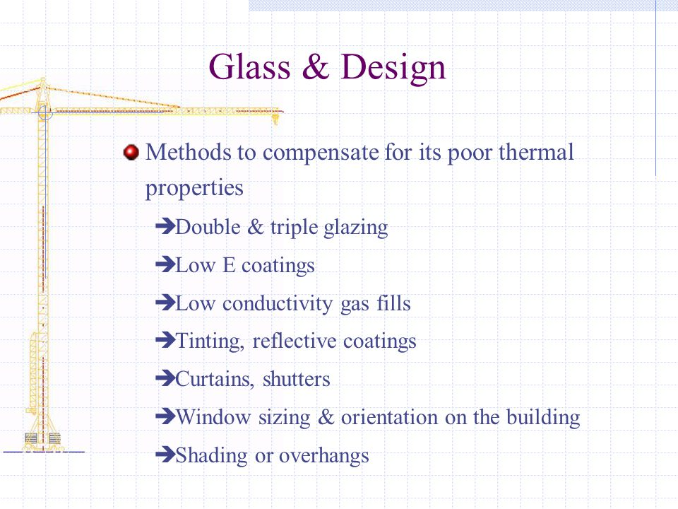 Glass & Design Methods to compensate for its poor thermal properties