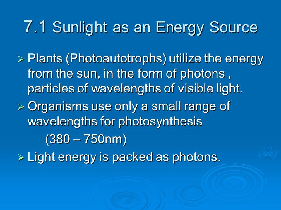 7.1 Sunlight as an Energy Source