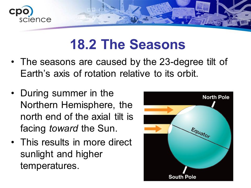 18.2 The Seasons The seasons are caused by the 23-degree tilt of Earth's axis of rotation relative to its orbit.