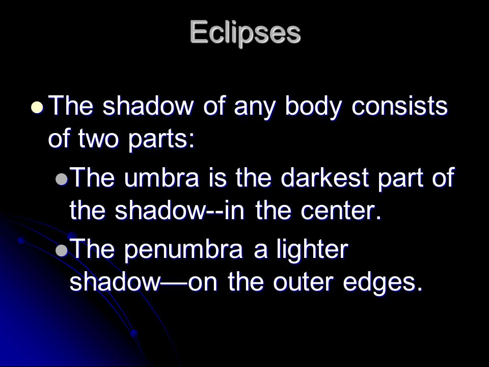 Eclipses The shadow of any body consists of two parts: