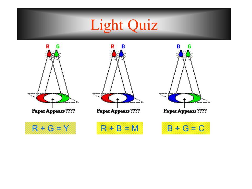 Light Quiz R + G = Y R + B = M B + G = C