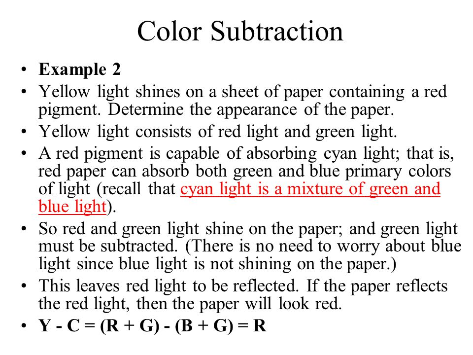 Color Subtraction Example 2