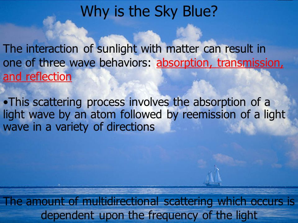 Why is the Sky Blue The interaction of sunlight with matter can result in one of three wave behaviors: absorption, transmission, and reflection.
