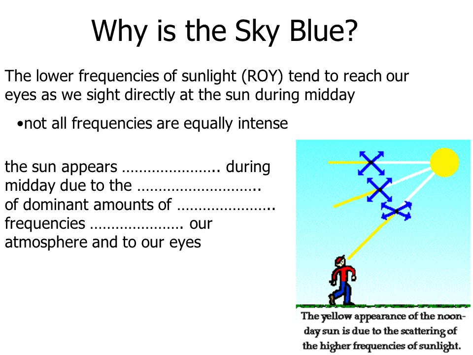 Why is the Sky Blue The lower frequencies of sunlight (ROY) tend to reach our eyes as we sight directly at the sun during midday.