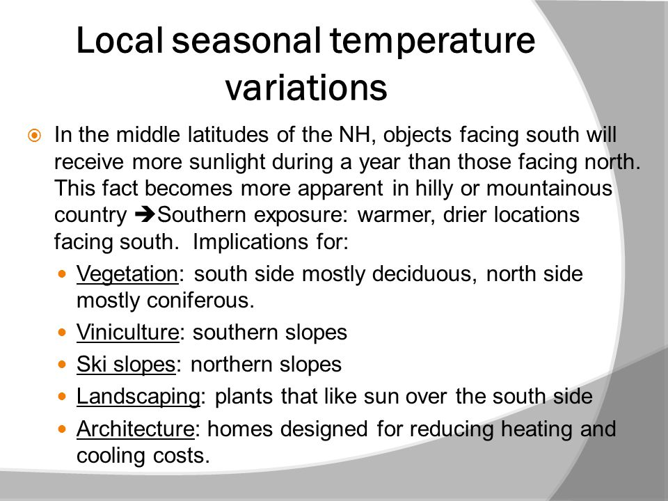 Local seasonal temperature variations